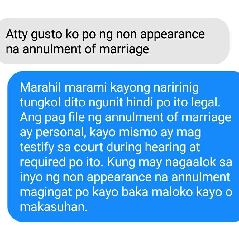 Non-appearance Annulment of Marriage