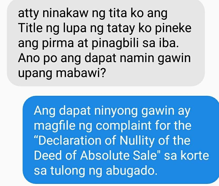 Declaration of Nullity of the Deed of Absolute Sale
